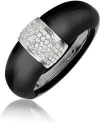 AZ Collection - Black Bangle Bracelet - Lyst