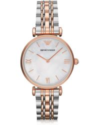 Emporio Armani White Mother-of-pearl Dial Stainless Steel And Rose Gold-tone Women's Watch - Metallic