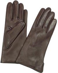 FORZIERI Damenhandschuhe aus italienischem Leder und Kaschmir in dunkelbraun