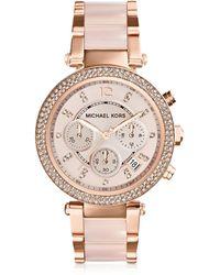 Michael Kors - Mid-size Rose Golden Stainless Steel Parker Chronograph Glitz Watch - Lyst