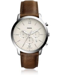 Fossil Neutra Chronograph Brown Leather Men's Watch - Mettallic