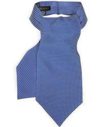 FORZIERI Micro Dots Print Silk Tie Ascot - Blau