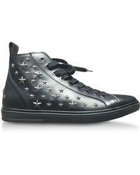 Jimmy Choo - Colt Black Leather Sport High Top Sneakers W/multi Stars - Lyst