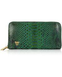 Ghibli Python Leather Continental Wallet - Verde
