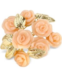 AZ Collection Pink Roses Gold Plated Brooch - Metallic