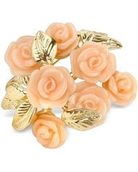 AZ Collection - Pink Roses Gold Plated Brooch - Lyst