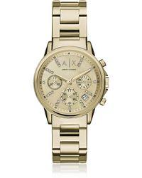 Armani Exchange Lady Banks Gold Tone Chronograph Women's Watch - Mettallic