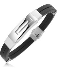 FORZIERI - Men's Rubber And Stainless Steel Bracelet - Lyst