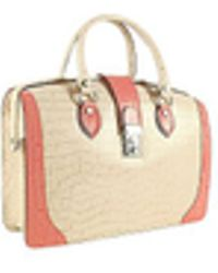 L.A.P.A. - Ivory & Pink Croco-embossed Leather Doctor Bag - Lyst