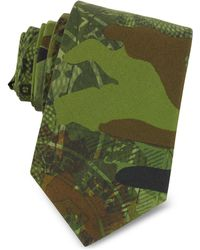 Givenchy | Green Camouflage And Money Printed Cotton Narrow Tie | Lyst