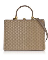 Rodo - Taupe Woven Leather Squared Satchel Bag - Lyst