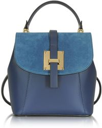 Le Parmentier - Palazia Midnight Blue Suede And Leather Small Backpack - Lyst