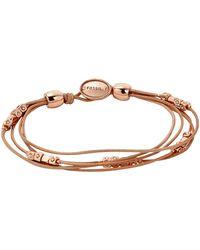 Fossil Tan Multi-strand Wrist Wrap Women's Bracelet - Natural