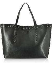 Jimmy Choo Pimlico Black Leather Tote Bag w/Pearl Studs - Noir