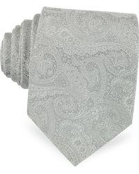 FORZIERI Corbata Seda Estampado Ornamental Gris Claro