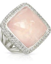 Sho London 18k Gold V-seal Rose Quartz Victoria Ring - Pink