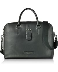The Bridge - Black Leather Double Handle Briefcase W detachable Shoulder  Strap - Lyst 111ca49f1d7d7