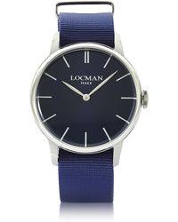 LOCMAN - 1960 Stainless Steel Men's Watch W/blue Canvas Strap - Lyst