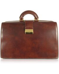 FORZIERI - Brown Italian Leather Buckled Large Doctor Bag - Lyst