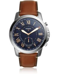 Fossil - Q Grant Light Brown Leather Men's Hybrid Smartwatch - Lyst