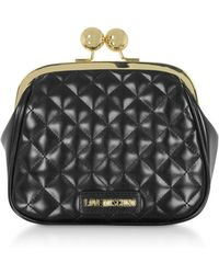Love Moschino Quilted Eco-leather Clutch W/chain - Black