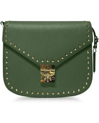 MCM - Loden Green Patricia Studded Outline Park Avenue Small Shoulder Bag - Lyst