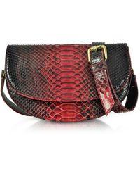 Ghibli Red Python Leather Half-Moon Shoulder/Belt Bag - Neutro