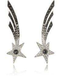 Bernard Delettrez Shooting Stars White Gold Earrings W/diamonds - Metallic