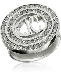 Just Cavalli - Rolly - Crystal Logo Ring - Lyst