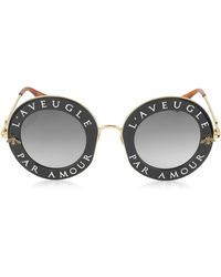Gucci GG0113S Acetate and Gold Metal Round Women's Sunglasses - Mehrfarbig