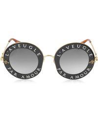 Gucci GG0113S Acetate and Gold Metal Round Women's Sunglasses - Mettallic