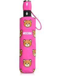 Moschino - Teddy Heads Fuchsia Mini Umbrella - Lyst