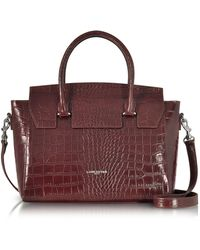 Lancaster Paris - Burgundy Croco Embossed Leather Satchel Bag - Lyst f89784ad8d