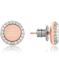 Rebecca - Boulevard Stone Rose Gold Over Bronze Stud Earrings W/stones - Lyst