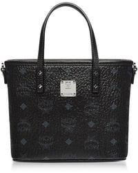MCM - Mini Black Eco Leather Top Zip Shopping Bag - Lyst