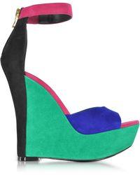 Balmain Multicolour Suede Sandals - Green
