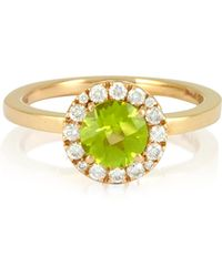 FORZIERI - 0.22 Ct Diamond Pave 18k Gold Ring W/green Peridot - Lyst