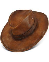 Pratesi Genuine Leather Hat - Brown