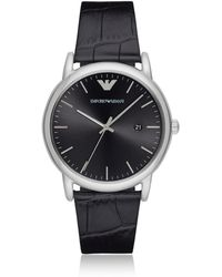 Emporio Armani Luigi Stainless Steel And Croco Embossed Leather Men's Watch