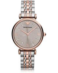 Emporio Armani T-bar Two Tone Stainless Steel Women's Watch W/dark Grey Sunray Dial - Multicolour
