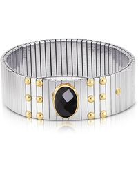 Nomination Single Black Cubic Zirconia Stainless Steel w/Golden Studs Women's Bracelet - Mettallic