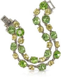 FORZIERI - Green And Pale Yellow Crystal Bracelet - Lyst