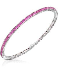 FORZIERI - Pink Sapphire 18k Gold Tennis Bracelet - Lyst