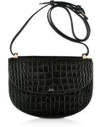 A.P.C. Dark Green Croco Embossed Leather Geneve Crossbody Bag