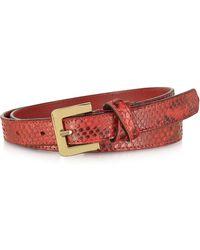 FORZIERI - Red Python Leather Skinny Women's Belt - Lyst