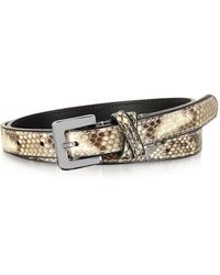 FORZIERI - Ivory Python Leather Skinny Women's Belt - Lyst