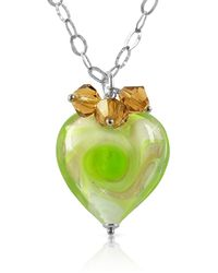 House of Murano | Vortice - Lime Murano Glass Swirling Heart Sterling Silver Necklace | Lyst