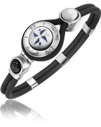 FORZIERI Windrose Stainless Steel And Rubber Bracelet - Gray