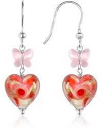 House of Murano Vortice - Pink Swirling Murano Glass Heart Earrings - Multicolor
