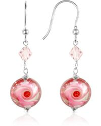 House of Murano Vortice - Pink Swirling Murano Glass Bead Earrings